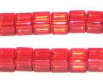 8mm Red Cube Pressed Glass Bead