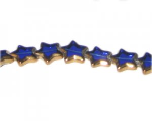 12mm Blue Vintage-Style Star Glass Bead, approx. 9 beads
