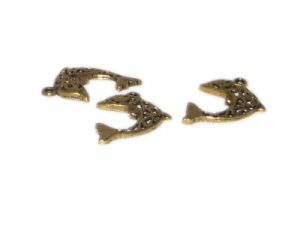 28 x 22mm Gold Dolphin Metal Charm, 3 charms