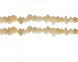"8 - 10mm Cream Dyed Shell Gemstone Chips, 10.5"" string"