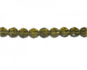 "10mm Pale Gold Faceted Round Glass Bead, 13"" string"