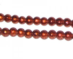 6mm Drizzled Bronze Glass Bead, approx. 72 beads