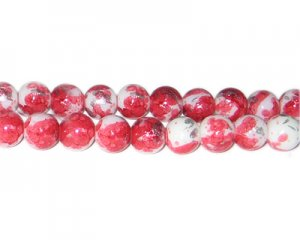 10mm Red SilverLeaf-Style Glass Bead, approx. 21 beads