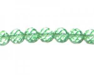 "10mm Green Faceted Round Glass Bead, 12"" string"