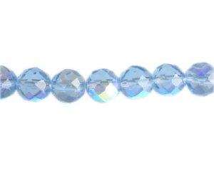 "12mm Sky Blue Faceted Glass Bead, 13"" string"