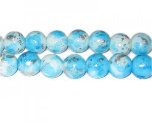 12mm Baby Blue SilverLeaf-Style Glass Bead, approx. 17 beads