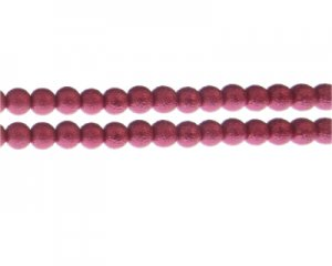 8mm Raspberry Rustic Glass Pearl Bead, approx. 56 beads