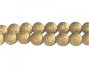 10mm Gold Druzy-Style Electroplated Glass Bead, approx. 24 beads