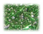 7 x 2mm Grass Green Bugle Bead, 1 oz. bag