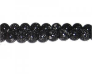 10mm Black Spot Marble-Style Glass Bead, approx. 22 beads