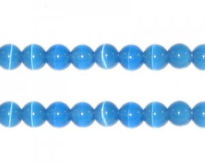 6mm Turquoise Round Cat's Eye Beads - approx. 25 beads