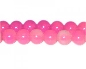 12mm Hot Pink Jade-Style Glass Bead, faded. No Returns!