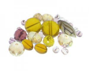 Approx. 1.5 - 2oz. Golden Twirl Glass Bead Mix