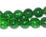 10mm Grass Green Crackle Bead, approx. 21 beads