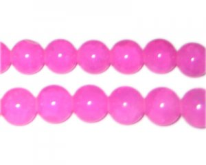 12mm Hot Pink Gemstone-Style Glass Beads, approx. 18 beads