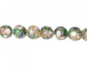 6mm Emerald Round Cloisonne Bead, 7 beads
