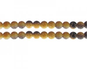 8mm Yellow/Brown Spot Marble-Style Glass Bead, approx. 35 beads