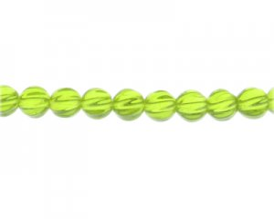 "10mm Apple Green Faceted Glass Bead, 13"" string"