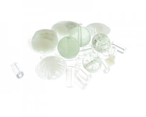 Approx. 1.5 - 2oz. White Crystal Glass Bead Mix