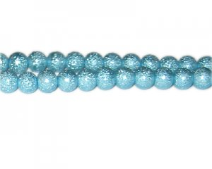 8mm Turquoise Rustic Glass Pearl Bead, approx. 56 beads