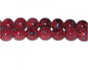 12mm Red Marble-Style Glass Bead, approx. 18 beads