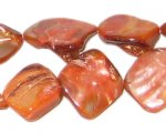 14 - 21mm Orange Irregular Diamond Shell Bead