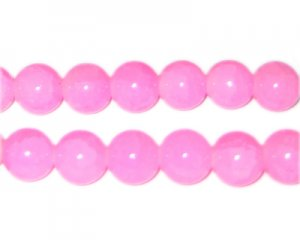 12mm Light Pink Jade-Style Glass Beads, approx. 18 beads