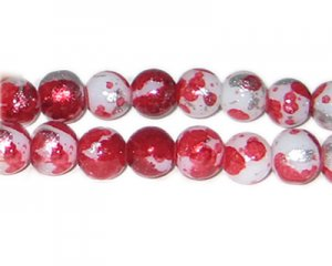 12mm Deep Red SilverLeaf-Style Glass Bead, approx. 17 beads