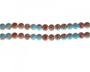 6mm Burnt Orange/Soft Blue Spot Marble-Style Glass Bead, approx.