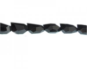 "18 x 12mm Black Faceted Polygon Glass Bead, 13"" string"