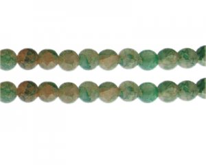 10mm Dusty Pink/Green Duo-Style Glass Bead, approx. 16 beads