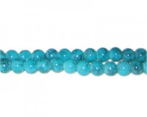 6mm Aquamarine-Style Glass Bead, approx. 72 beads