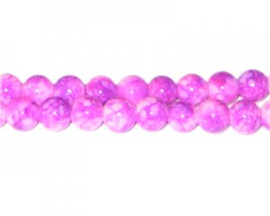 8mm Hot Pink Marble-Style Glass Bead, approx. 55 beads