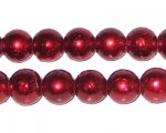 10mm Drizzled Red Glass Bead, approx. 22 beads