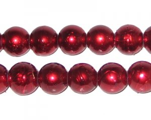 10mm Drizzled Red Glass Bead, approx. 17 beads