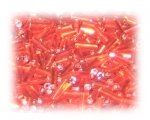 7 x 2mm Deep Orange Silver-Lined Bugle Bead, 1 oz. bag