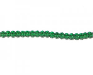 "6x4mm Green Faceted Glass Rondelle Bead, 13"" string"