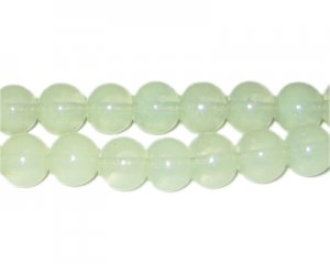 10mm Pistachio Jade-Style Glass Bead, approx. 21 beads