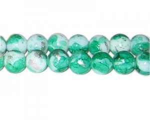 12mm Green SilverLeaf-Style Glass Bead, approx. 17 beads