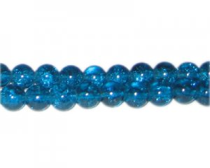 8mm Deep Aqua Crackle Glass Bead, approx. 55 beads