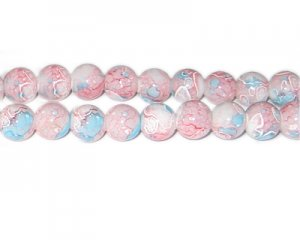10mm Pink Swirl Marble-Style Glass Bead, approx. 22 beads