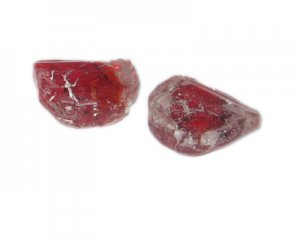 24mm Red Foil Lampwork Glass Bead, 2 beads