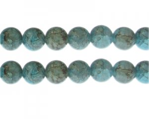 12mm Larimar Duo-Style Glass Bead, approx. 14 beads