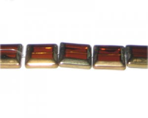 14mm Deep Gold Vintage-Style Square Glass Bead, approx. 5 beads