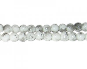 8mm Silver SilverLeaf-Style Glass Bead, approx. 35 beads