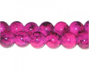 12mm Crimson Marble-Style Glass Bead, approx. 18 beads