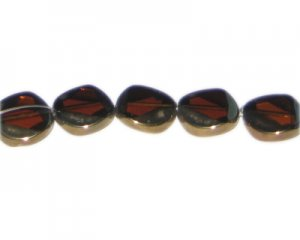 14mm Deep Gold Vintage-Style Flat Round Glass Bead, approx. 5 be