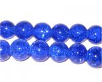 "10mm Dark Blue Crackle Glass Bead, 8"" string"