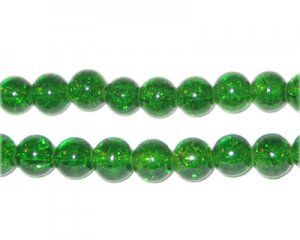 6mm Grass Green Crackle Glass Bead, approx. 74 beads