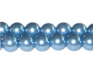 12mm Powder Blue Glass Pearl Bead, approx. 18 beads